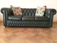 Green Leather Chesterfield Style Sofa 3 Seater Settee delivery/courier available