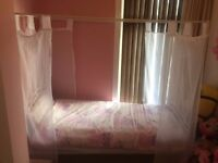 Children's Princess Single Bed, Mattress, 4 Post Frame & Vales all included - 9/10 condition.