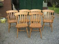 6 X VERY STURDY, SOLID PINE FARMHOUSE CHAIRS. 2 CARVERS, 4 DINING. MATCHING. VIEWING / DELIVERY