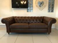 STUNNING NEXT CHESTERFIELD LARGE 3 SEATER CLUB SOFA IN CHESTNUT BROWN LEATHER