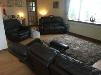 3 piece suite sofa couch 3+2+1 brown leather recliners
