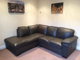 Corner sofa. Brown leather-affect. Very comfy. Good condition