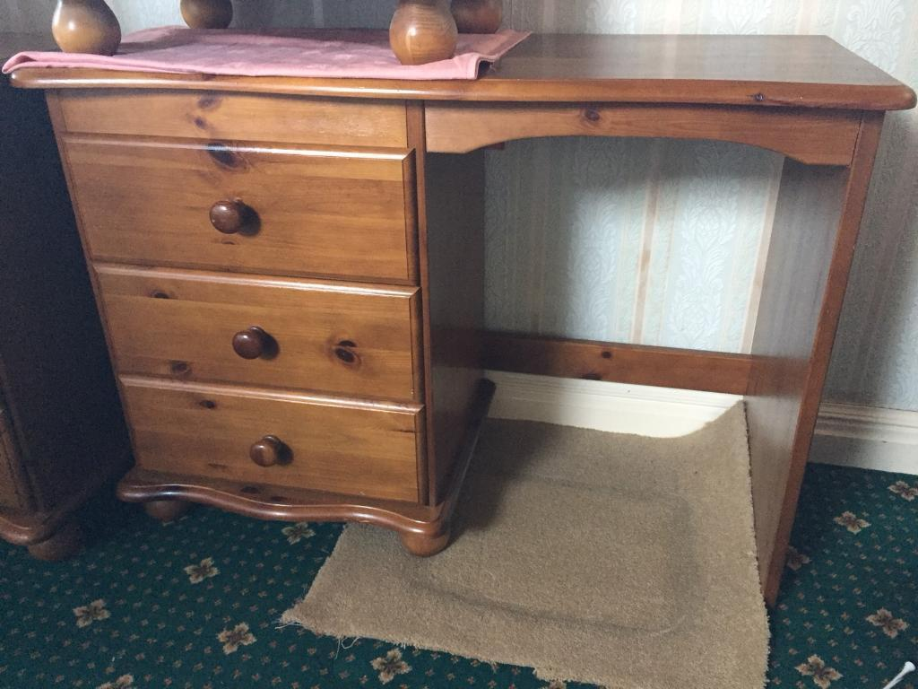 Pine desk with three draws