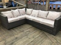 Brown / Beige L shaped rattan corner sofa Outdoor garden patio set - 6-7 seats - delivery available