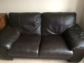 LEATHER 2 SEATER SOFA IN BROWN