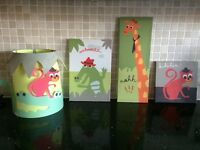 Animal lampshade and 3 canvas prints