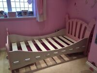 Pink & white sleigh single bed