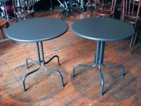 THREE PATIO TABLES OR CAFE STYLE TABLES. WILL SELL SEPARATELY IF NEEDED.