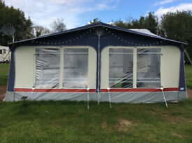 Blue Ventura (Isabella) Neptune Awning 975 with Curtains