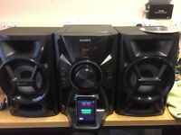SONY MINI HI FI SYSTEM WITH SPEAKERS SSEC609IP IPOD,CD,MP3 PLAYER