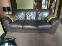 Sofa / Settee 3 + 1 Seater Brown Faux Leather