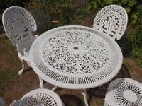 CAST ALUMINIUM GARDEN SET ---TABLE AND 4 CHAIRS --VICTORIAN STYLE --
