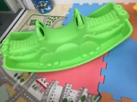 Green Crocodile Chad Valley Rocker/ See-Saw (for 2 or 3 kids) Fab condition!