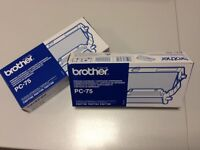 2no. Brother PC-75 Fax Machine Printing Cartridges