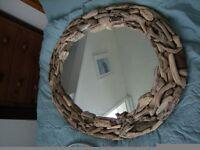 lovely handmade,oval driftwood mirror