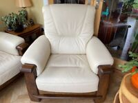 Leather 3 seat sofa and chair