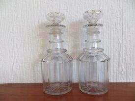 PAIR OF GEORGIAN TRIPLE RING NECK DECANTERS