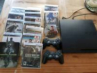 Ps3 and 2 wireless controllers. 16 games