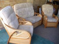 Cane conservatory suite, 2 seater settee and 2 chairs