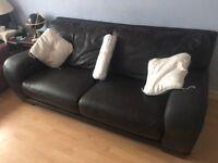 Large chocolate leather sofa - super soft