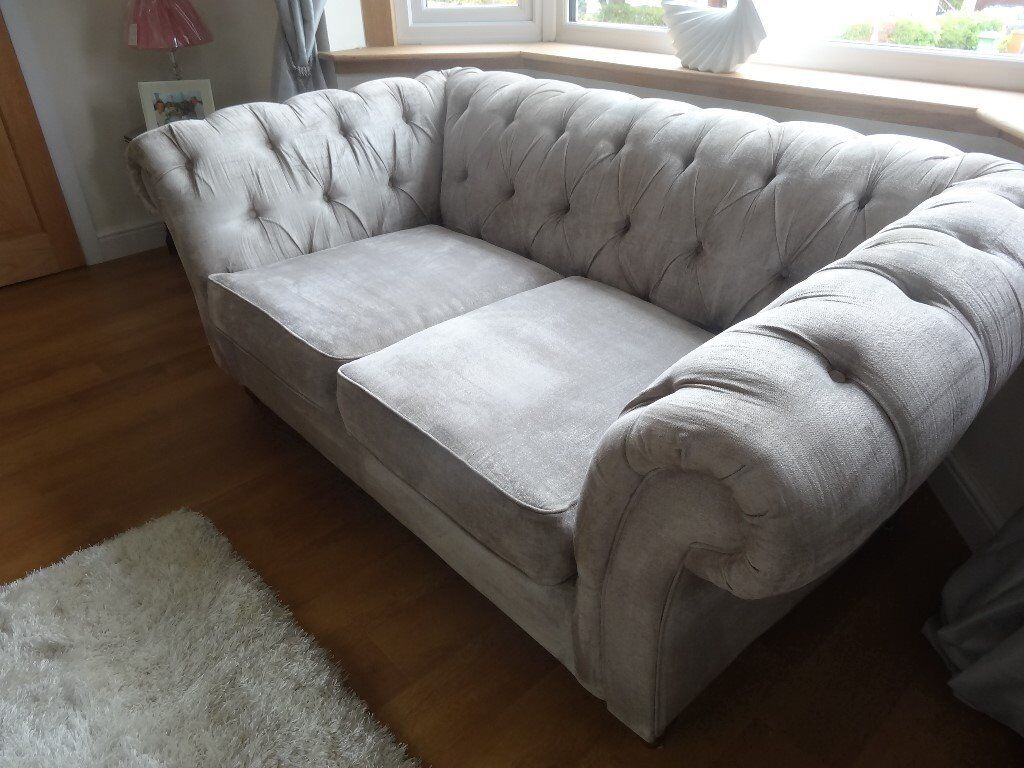 Next Gosford chesterfield style sofa/settee/couch in silver velour. Only 6 months old. Cost £1150