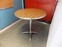 Garden or patio or cafe table for sale, aluminium and imitation wood, 80cm top