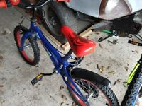Boys spiderman bike with stabilsers