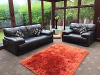 Violino® Italian Brown Leather Large 2 Seater Sofa + Large Armchair
