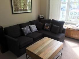 Corner sofa - charcoal grey