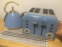 Cornflower blue kettle and toaster