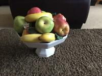 Ornamental decretive porcelain fruit bowl