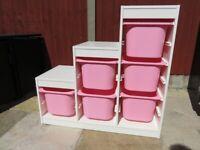 Ikea Trofast White Storage with Pink Boxes (6)