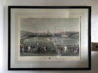 Signed framed print of Cricket match at Brighton