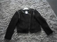 H & M Ladies Black Jacket with faux leather trim. New still tagged. Size 16.