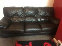 2 Brown leather sofa (3 seater)