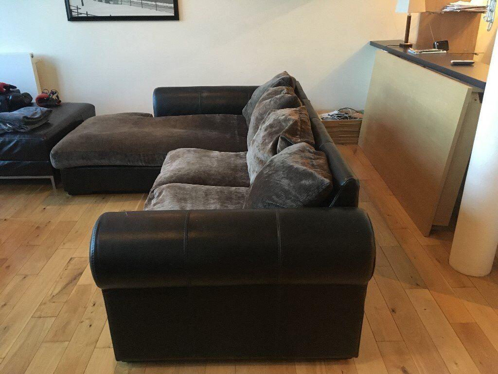 Corner Sofa (Brown Leather/material)