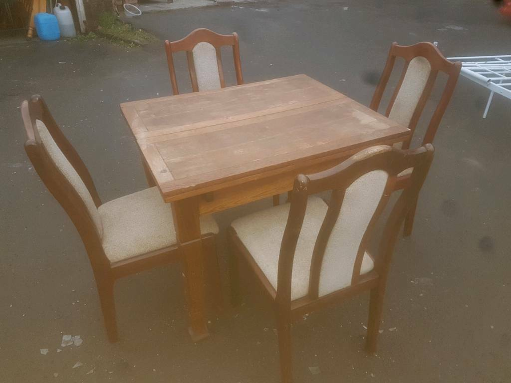 Dining Table & Chairs - Quality Solid Dining Table with 4 Chairs