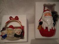 NEW Ceramic Santa tea light holder and Santa/snowman bowl