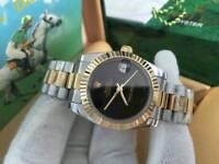 LADIES Rolex Datejust, Black dial two tone