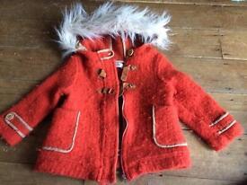 Girls ZARA wool coat and NEXT trousers