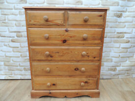 Farmhouse Wooden chest of drawers with crafted base (Delivery)