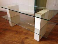 Bespoke media console/coffee table - Bath stone and glass