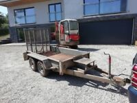 Mini digger 4 wheel trailer braked with sprung loaded full width ramp. galvanized lights spare wheel