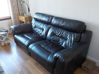 Electric Reclining Black Leather Sofa