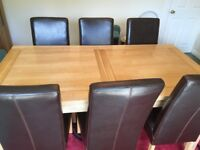 Solid Oak extendable Dining Table&6Chairs