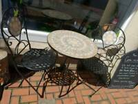 New black bistro set with mosaic table top