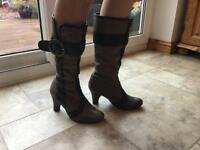 Ladies brown and black leather boots - size 4