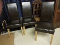 FREE .. 6 x Faux Leather Brown Dining Chairs