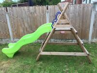 Little tikes, outdoor slide with solid wooden frame
