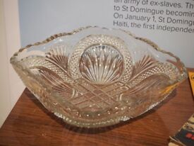 Vintage cut glass fruit bowl